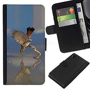 // PHONE CASE GIFT // Moda Estuche Funda de Cuero Billetera Tarjeta de crédito dinero bolsa Cubierta de proteccion Caso Sony Xperia Z2 D6502 / Bird Lake /