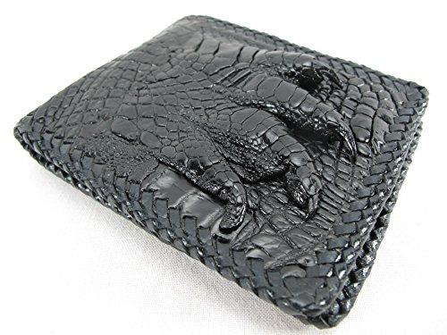 PELGIO Genuine Crocodile Alligator Foot Claw Skin Leather Handmade Wallet (Black)