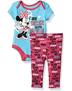 Baby Girls' Minnie Mouse Short Sleeve Bodysuit and Legging Set