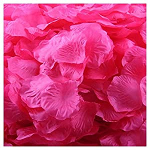 Artificial Flowers,FTXJ 500pcs Silk Rose Artificial Petals Wedding Party Favors Decoration (Magenta) 7