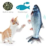 FOONEE Catnip Fish Toys for Cat, Simulation Electric Wagging Fish Toy for Cats/Kitty/Kitten, USB Rechargeable, Easy to Clean Funny Interactive Pets Chew Bite Kicking Supplies,28cm