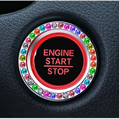 Personality Car Interior Emblem Crystal Ring Sticker,Automotive Parts Start Engine Ignition Button Key & Knobs Key Ignition & Knob Bling Ring, Car Glam Interior Accessory, Unique Women Gift (Colour): Automotive