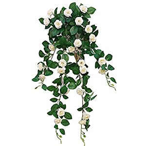Lopkey Lifelike Silk Artificial Hanging Flower Artificial Rose Rattan Outdoor Wall Garden Decoration 28