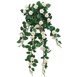 Lopkey Lifelike Silk Artificial Hanging Flower Artificial Rose Rattan Outdoor Wall Garden Decoration 90