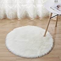 Round Shag Rug, Anyshock faux fur Luxury Modern Throw Rug Cozy Shaggy Washable Area Rug Soft Floor Mat Carpets Kids Play Rug for Bedroom Living Room(3.2 ft Diameter, Ivory White)