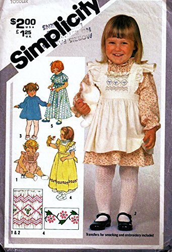 - Special Smocking Simplicity 5293 Toddler Size 1/2 Pullover Dress & Pinafore Sewing Pattern, Transfer Vintage 1980s Wedding, Flower Girl