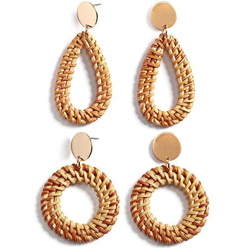 Rattan Earrings Handmade Straw Wicker Braid Hoop Drop Dangle Earrings Lightweight Geometric Acrylic Statement Earrings for Women Girls (A: 2 Pairs Ratten Earrings)