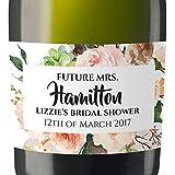 """Future Mrs"" Mini Champagne Wine Bottle Custom Label Sticker for Bridal Shower Party, Engagement, Wedding Gift, Bachelorette, Elopement Invitation - Specialized Personalized Bespoke Set of 8"