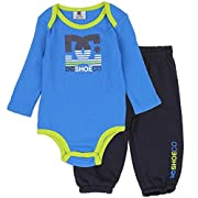 DC Shoe Co Baby Long-Sleeve Thermal Bodysuit and Pants Set, Blue, 0/3M