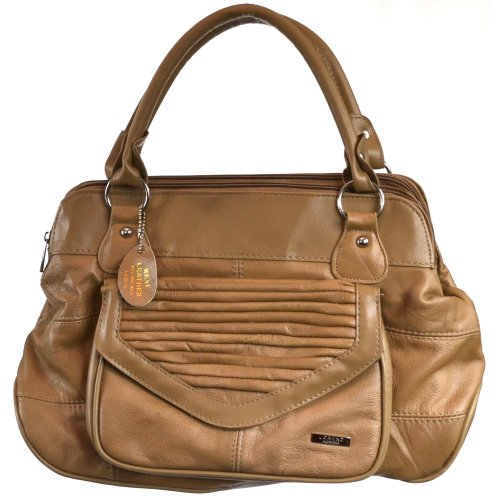 Tote Magnetic Dark Brown with Handbag Ladies Top Handy Fawn Leather Tan Fawn Black Large Bag Fastners x4vq0ET