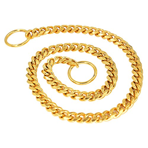 Mihqy All Welded Gold Dog Choke Collar P Chain- Heavy Duty Slip Chain Collar - Best for Small Medium Large Dogs Control Training Walking - 1cm Wide Stainless Steel Pet Collar (10mm20inch) ()