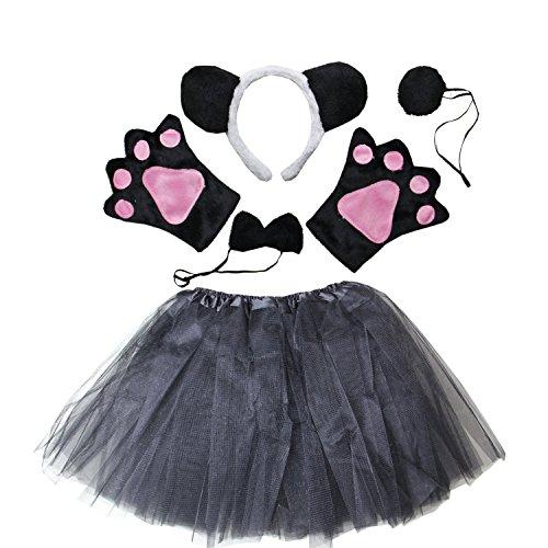 Kirei Sui Kids Costume Tutu Set Black (Kids Panda Bear Costume)