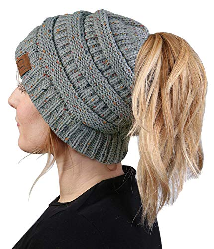 (BT-6800-3376 Messy Bun Womens Winter Knit Hat Beanie Tail - Dove Grey (Confetti))