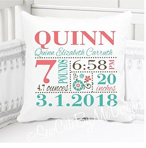 Birth Announcement Pillow for Baby Girls Teal and Exotic Coral Nursery - Includes Personalized Pillowcase and Pillow Insert 14''x14'' or 16''x16''