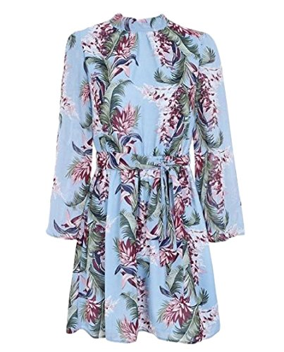 Coolred Summer Women Sleeve Tunic Mini Printing Blue Backless Dress Bell rPrq5