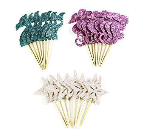 Partico 11 24 Pieces Theme Glitter Cupcake Topper Cake Picks Decoration for Baby Shower Birthday Party Favors, Mermaid Tail, Seahorse and