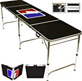 8' Folding Beer Pong Table with Bottle...