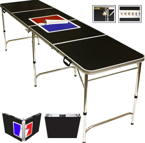 8' Folding Beer Pong Table with Bottle Opener, Ball Rack and 6 Pong Balls - Sports Design - By Red Cup Pong
