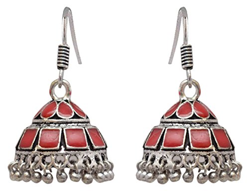 Sansar India Enamel Lightweight Jhumka Indian Earrings Jewelry for Girls and Women 1383 by Sansar India (Image #6)