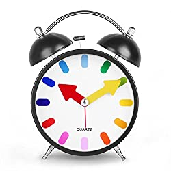 Smart Morning Clock Nightlight Alarm Clock 4 inch Twin Bell Silent Quartz Analog Non-ticking Bedside Colorful Display Alarm Clock with Loud Alarm HA10 Best Christmas Gift (Black)