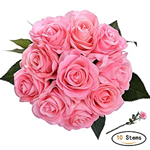 Artificial Flowers Bridal Wedding Bouquet 10 pcs Romantic Bride Wedding Holding and Tossing Bouquet Rose Pink 67