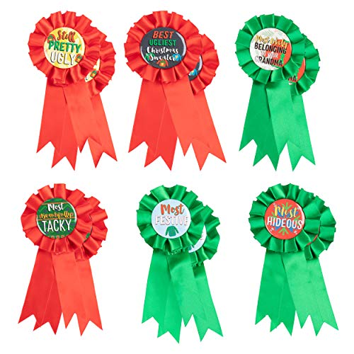 Ugly Christmas Sweater Award Ribbons - 12-Pack Christmas Contest Supplies, 6 Award Designs for Festive Holiday Game, Red and Green, 3 x 6.2 Inches]()