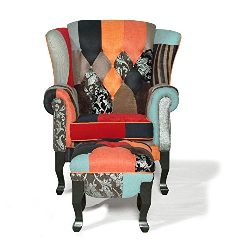 Ohrensessel patchwork  XANA-Möbel Ohrensessel Set aus Patchwork Sessel + Hocker ...