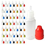 vape central - 510 Central 10mL LDPE Plastic Thin Tip Dropper Bottles (50 Pack, Multi Color Caps)