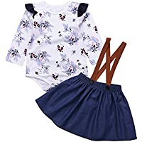 Toddler Girls Outfits 2pcs Baby Romper Clothes Set Girl Floral Jumpsuit+Strap Skirt Outfits