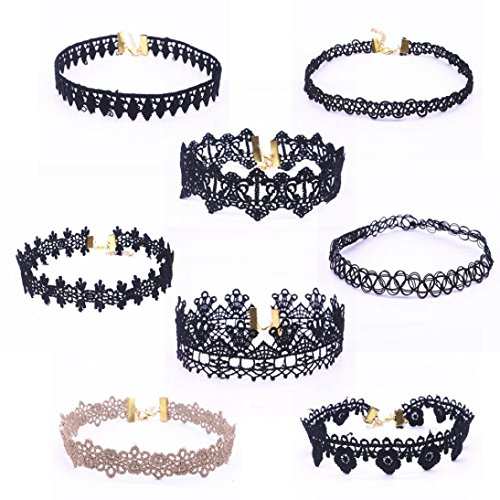 Gotd 8 Pieces Choker Necklace Set Stretch Velvet Classic Gothic Tattoo Lace Choker (Pack of 8(1))