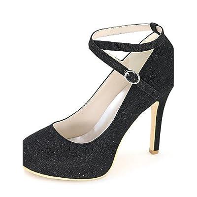 Ggx femme Chaussures Paillettes Printemps été automne Bout Rond talons  Mariage fête 6c63e7c16cbf