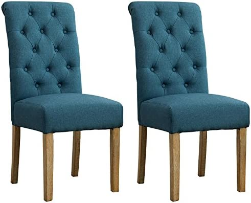 Roundhill Furniture Habit Solid Wood Tufted Parsons Dining Chair Set Of 2 Blue Buy Online At Best Price In Uae Amazon Ae