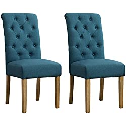 Roundhill Furniture Habit Solid Wood Tufted Parsons Dining Chair (Set of 2), Blue