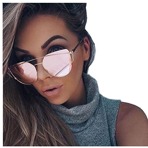 Mirrored Flat Lens Cateye Sunglasses Polarized Shades For Unisex 86798A - Sunglasses Large Cateye