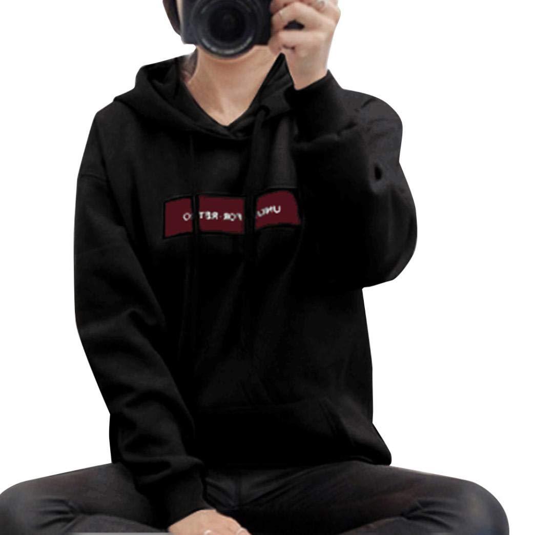 HTHJSCO Womens Long Sleeve Fleece Pullover Hoodie Sweatshirts, Hoodie Jumper Letter Pullover Tops Blouse (Black, L)