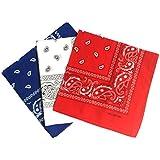 ComboCube 12 Pack Multi-Purpose Cotton Paisley Cowboy Bandanas Headband for Men and Women,Blue&White&Red
