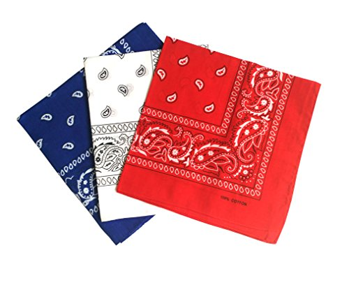 - ComboCube 12 Pack Multi-Purpose Cotton Paisley Cowboy Bandanas Headband for Men and Women,Blue&White&Red