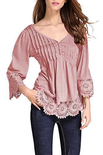 Trim Cami Ruffle (OMZIN Women's Tunic Shirt Long Sleeve Ruffle Lace Trim Top Pink XL)