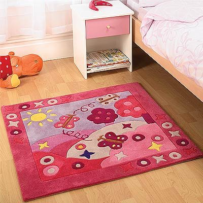 Flair Rugs Kiddy Play Girl Summertime Childrens Rug, Pink, 90 x 90 Cm