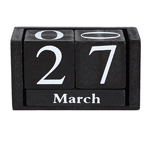 Vpang Vintage Wood Perpetual Calendar Chic Blocks Desktop Calendar Rustic Wooden Cubes Calendar Home Office Decoration -