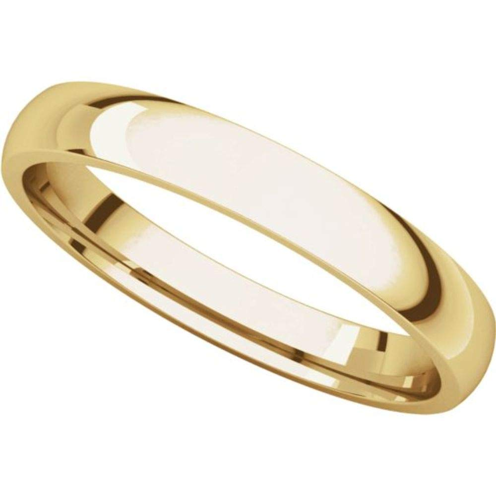 Bonyak Jewelry 10k Yellow Gold 3 mm Lightweight Comfort-Fit Band Size 13.5