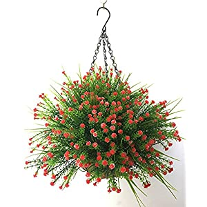Lopkey Plastic Baby's Breath Flowers Gypsophila Artificial Flower Outdoor Indoor Patio Lawn Garden Hanging Basket with Chain Flowerpot,Red 26