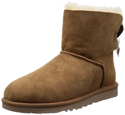 UGG Women's Mini Bailey Bow, Chestnut, 7 B-Medium (Three Button Uggs)