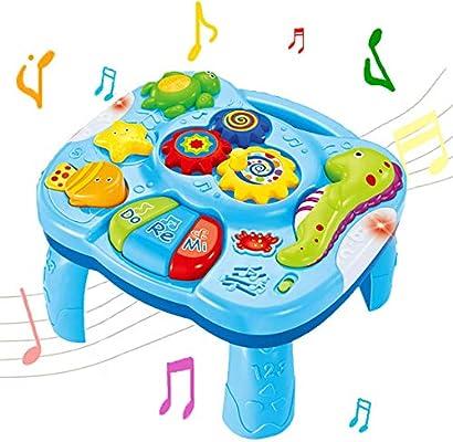 WISHTIME Mesa de Aprendizaje Musical Juguetes para bebés 2 en 1 ...