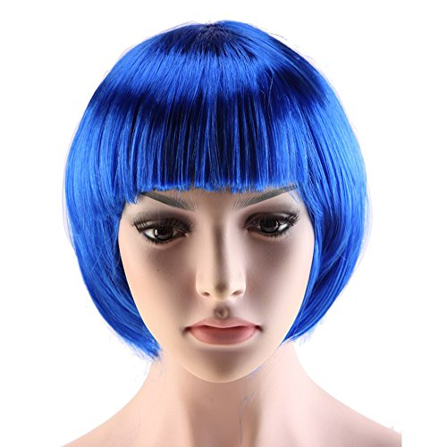 [Cosplay Party Comic Short Bob Wig Synthetic Full Wig with Bangs 12 Styles Heat Resistant Fiber Vogue Straight for Women Girls Lady Halloween Anime Costume] (Girl Anime Costumes)