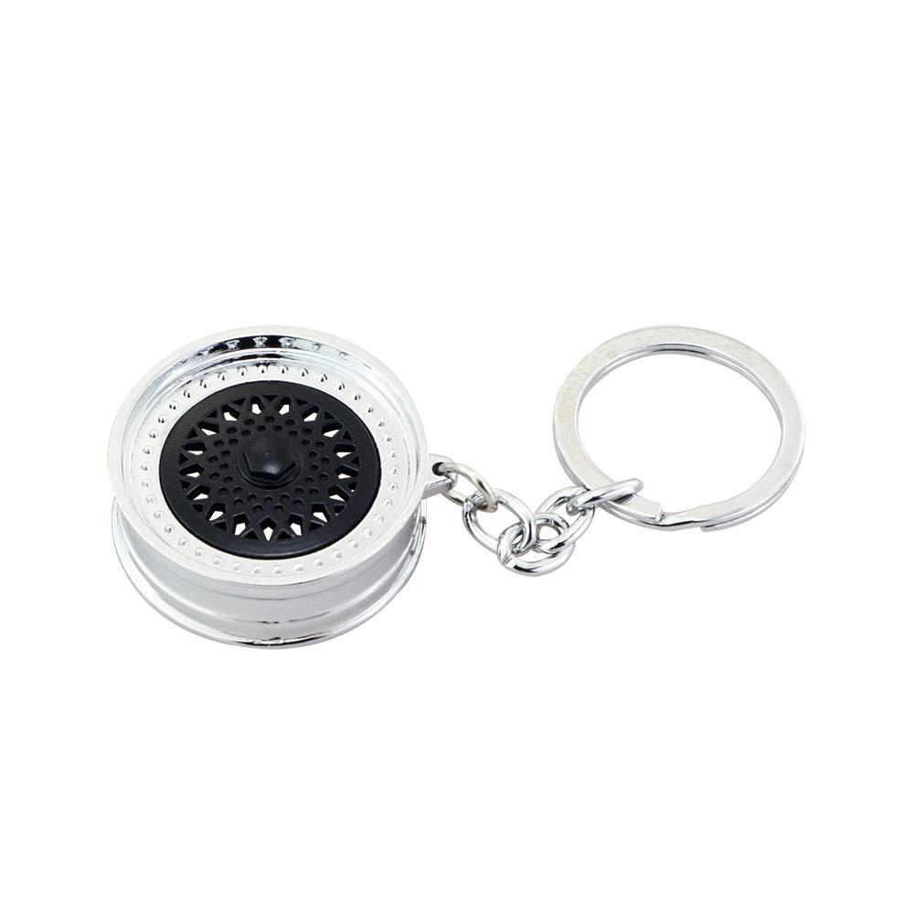 Mavot Silver Wheel Hub Aluminum Keychain Key Chain Key Ring Mavota