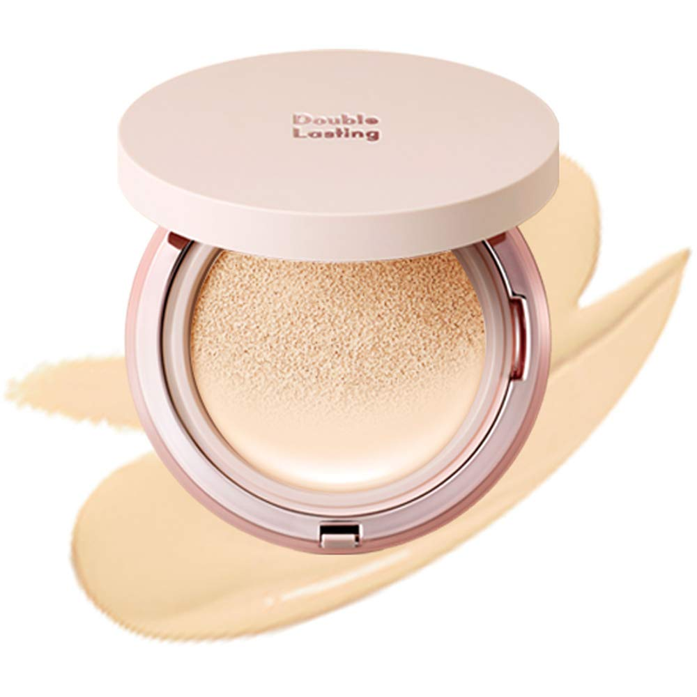 ETUDE HOUSE Double Lasting Cushion Glow (N19 Neutral Vanilla) | 24-Hours Lasting Cushion with a Radiant Natural Finish