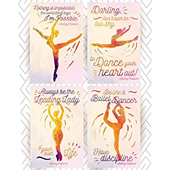 Throwback Traits Ballet Posters With Audrey Hepburn Motivational Inspirational Quotes A Beautiful Gift For Your Girls Bedroom Or As Home