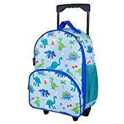 Wildkin Kids Rolling Luggage for Boys and Girls, Carry on Luggage Size is Perfect for School and Overnight Travel, Measures 16 x 12 x 6 Inches, BPA-free, Olive Kids (Dinosaur Land), One Size