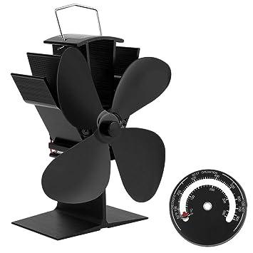 metafood Ventilador para chimenea holzöfen Hornos con termómetro – Funcionamiento silencioso 4 palas Ventilador de estufa